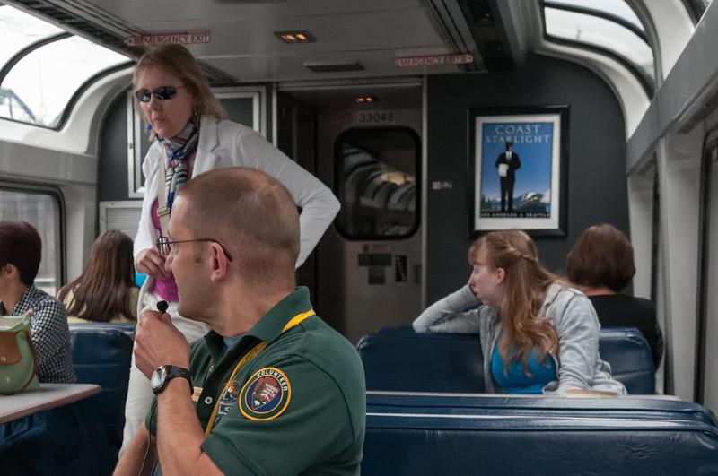 """""""Trails und Rails"""". Auf der Teilstrecke bis Portland haben uns Ranger begleitet und Sehenswürdigkeiten erklärt."""