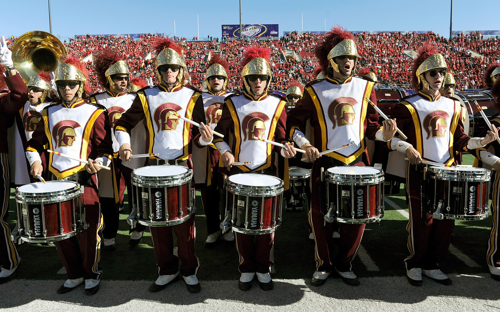 . LAS VEGAS, NV - DECEMBER 21:  Members of the USC Trojans marching band perform before the team\'s game against the Fresno State Bulldogs in the Royal Purple Las Vegas Bowl at Sam Boyd Stadium on December 21, 2013 in Las Vegas, Nevada. USC won 45-20.  (Photo by Ethan Miller/Getty Images)