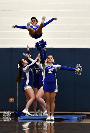 2/18/2020 Mike Orazzi | StaffrBristol Eastern High School Cheerleaders during Tuesday night's boys basketball game with Tolland in Bristol.
