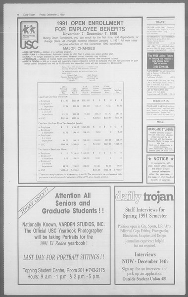 Daily Trojan, Vol. 113, No. 65, December 07, 1990