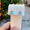 3.47ctw Blue Zircon Hexagon Stud Earrings 1