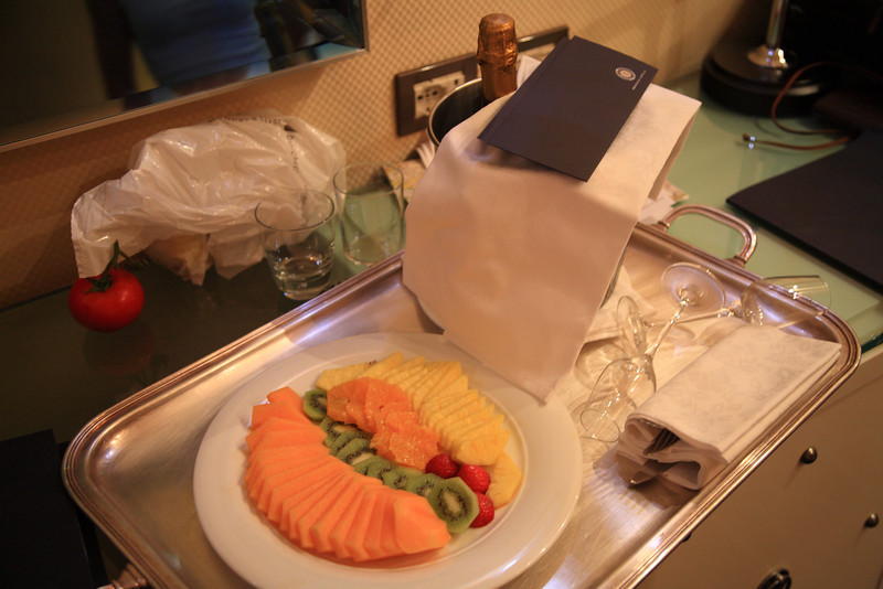 After screwing up the first time, the hotel tries to buy our love with champagne and cantaloupe.