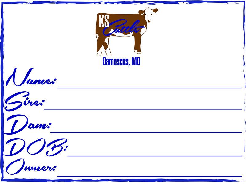 KS Cattle PEDIGREE SIGN