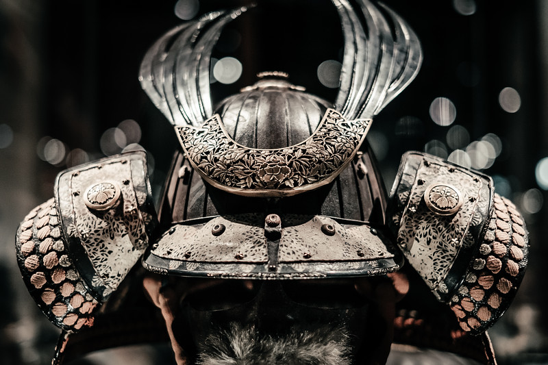 An ancient japanese helmet at the Musee d'ethnographie Geneva