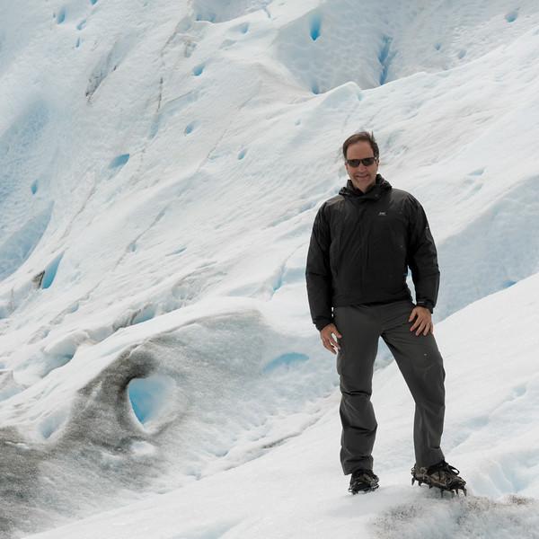 Man on Perito Moreno Glacier, Los Glaciares National Park, Santa Cruz Province, Patagonia, Argentina