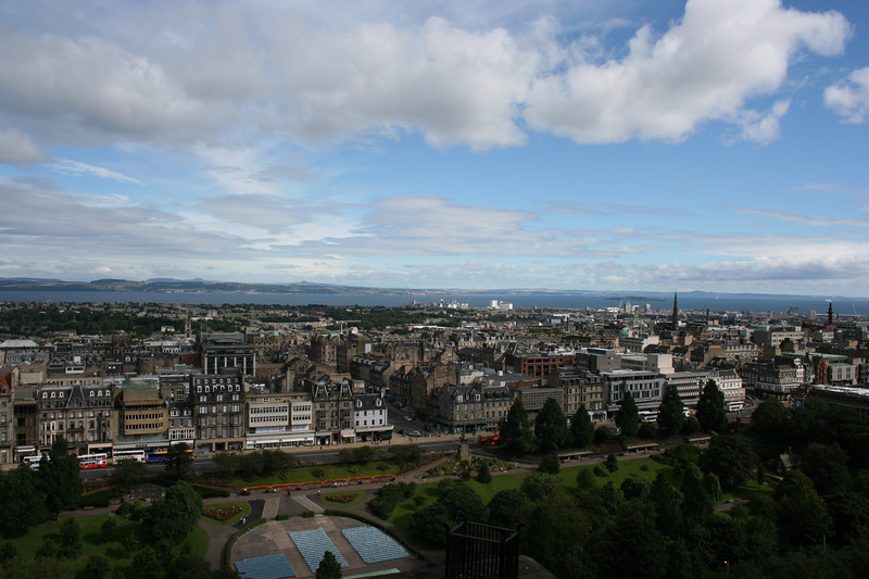 "View from the Edinburgh Castle towards ""New Town."""