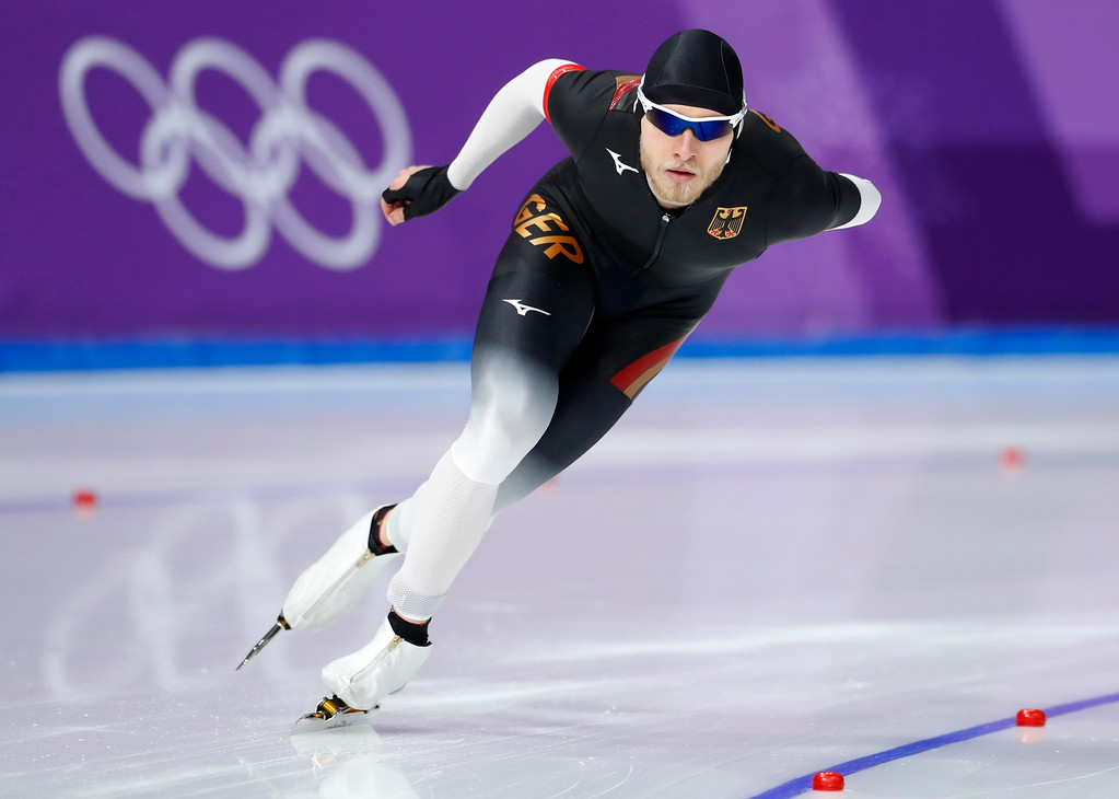 . Germany\'s Patrick Beckert competes during the men\'s 5,000 meters race at the Gangneung Oval at the 2018 Winter Olympics in Gangneung, South Korea, Sunday, Feb. 11, 2018. (AP Photo/Petr David Josek)