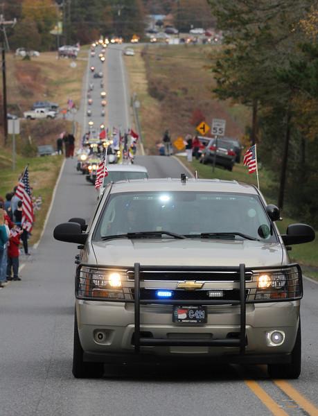 The precession for Staff SGT Chris Newman's memorial service.