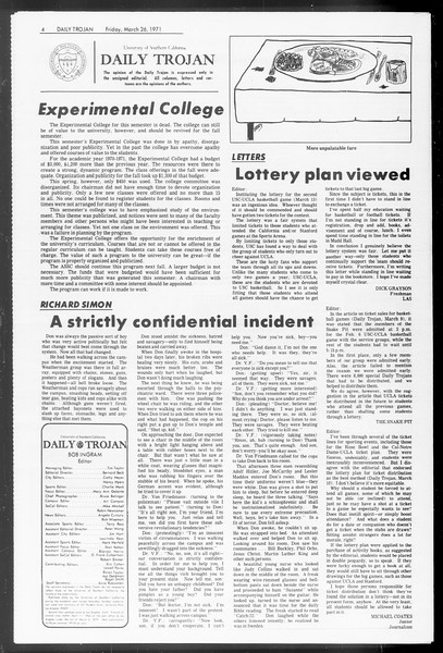 Daily Trojan, Vol. 62, No. 97, March 26, 1971