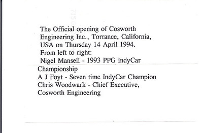 Cosworth New facility Opening April 1994