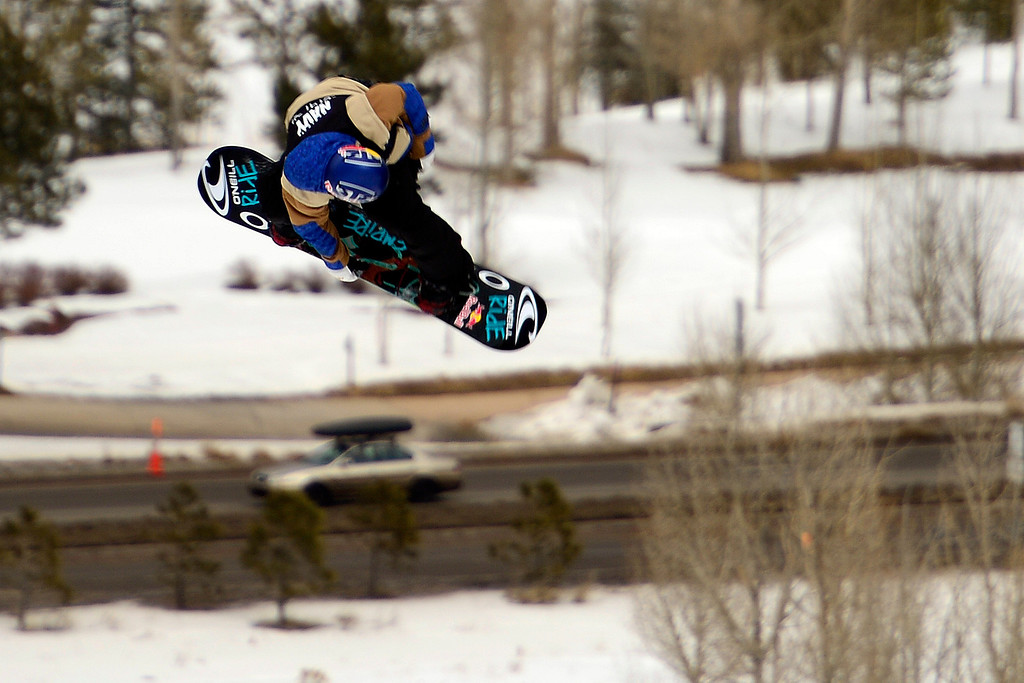 . ASPEN, CO. - JANUARY 24: during the men\'s Snowboard Slopestyle elimination. Men\'s Snowboard Slopestyle elimination X Games Aspen Buttermilk Mountain Aspen January 24, 2013. (Photo By AAron Ontiveroz / The Denver Post)