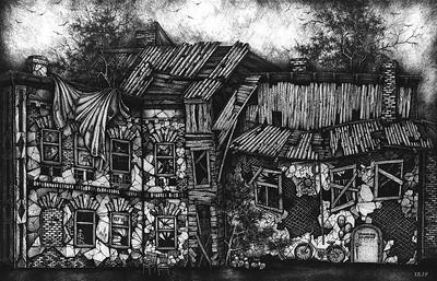 """Nightmare Shelter"" (gel pen, liners, paper) by Victoria Khrustaleva"