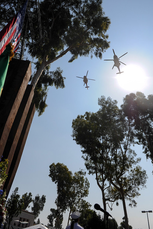 . An LAFD helicopter flyover at the 9/11 Remembrance Ceremony at the World Trade Center Memorial at LAFD Frank Hotchkin Memorial Training Center, Thursday, September 11, 2013. (Photo by Michael Owen Baker/L.A. Daily News)