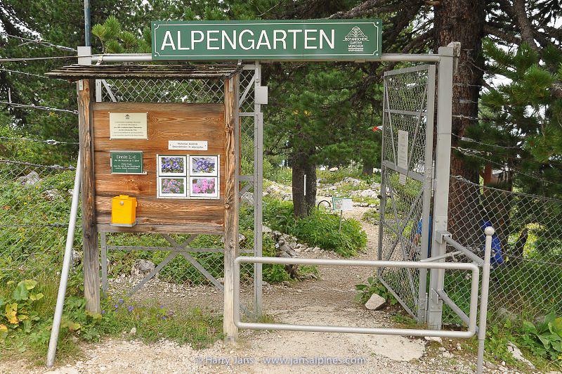 entrance Schachen Garden, after 3 hours walk, starting at Schloss Elmau