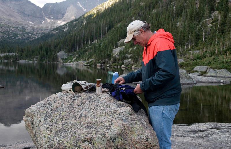 Frank prepares his breakfast, Mills Lake, Rocky Mountain National Park, Colorado.