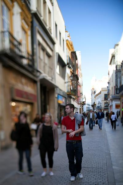Tetuan street, Seville, Spain. Tilted lens used for shallower depth of field.