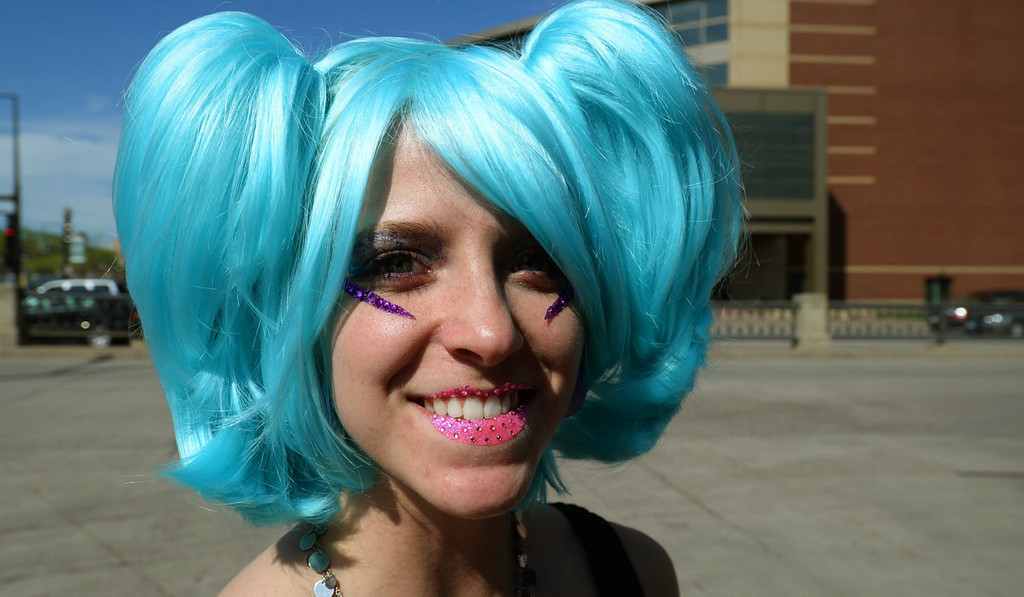 . Christy Sands, from Michigan, poses for a photo outside Xcel Energy Center.  (Pioneer Press: John Autey)