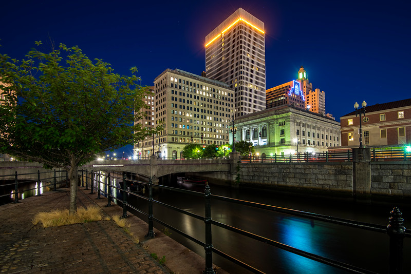 Providence Skyline and Washington Street Bridge at night, Rhode Island