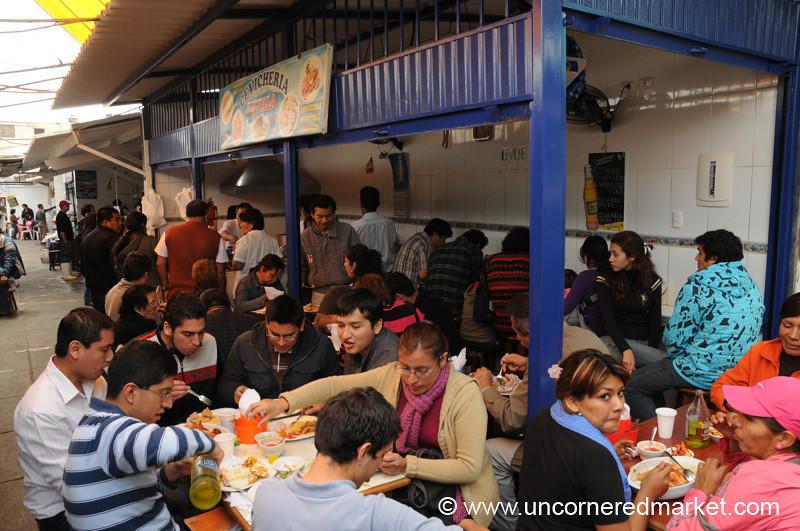 A Busy Cevicheria at Surquillo Market - Lima, Peru
