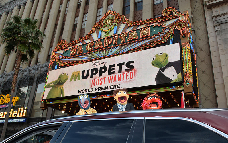 ". (L-R) Muppets The Great Gonzo, Walter and Animal arrive for the premiere of Disney\'s ""Muppets Most Wanted\"" at the El Capitan Theatre on March 11, 2014 in Hollywood, California.  (Photo by Kevin Winter/Getty Images)"