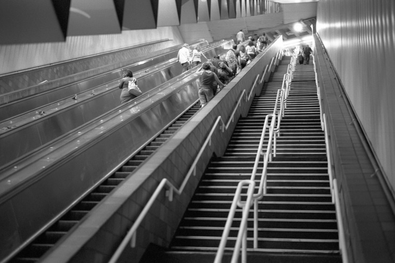 Steps At Porter Square Station - As far as stairs in a train station go, the ones in Porter Square station in Boston are fairly intimidating.
