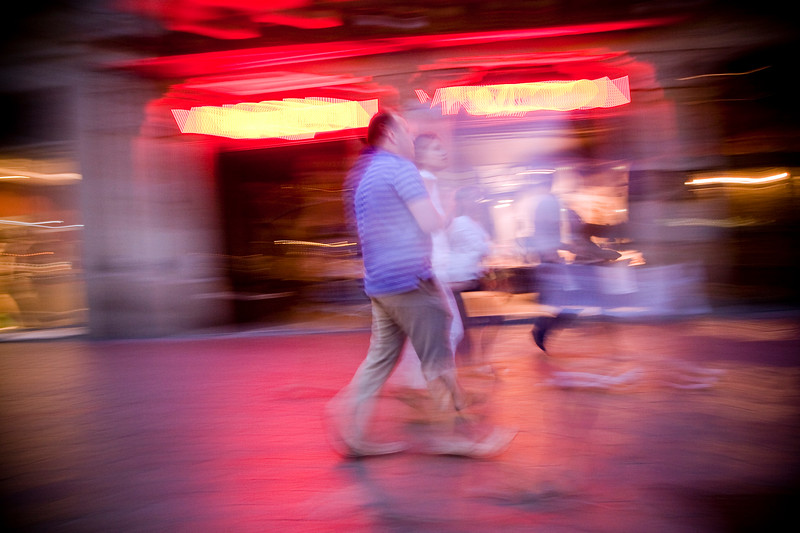 Night scene on Passeig the Gracia, town of Barcelona, autonomous commnunity of Catalonia, northeastern Spain