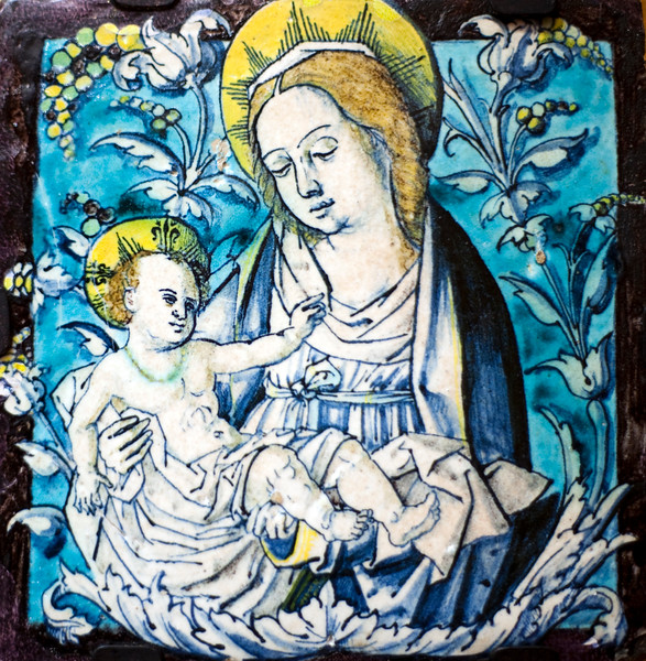 Virgin with Baby Jesus, azulejo by Francisco Niculoso Pisano (early 16th century), Fine Arts Museum, Seville, Spain