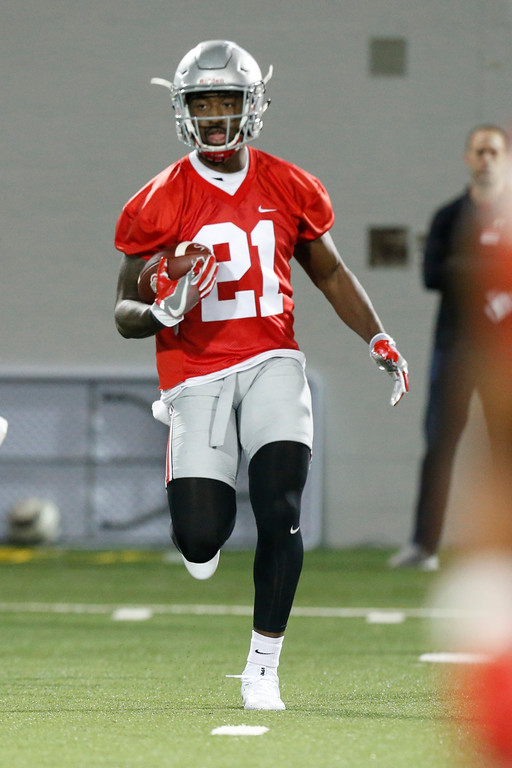 . Ohio State receiver Paris Campbell runs a drill during their Spring NCAA college football practice Tuesday, March 7, 2017, in Columbus, Ohio. (AP Photo/Jay LaPrete)