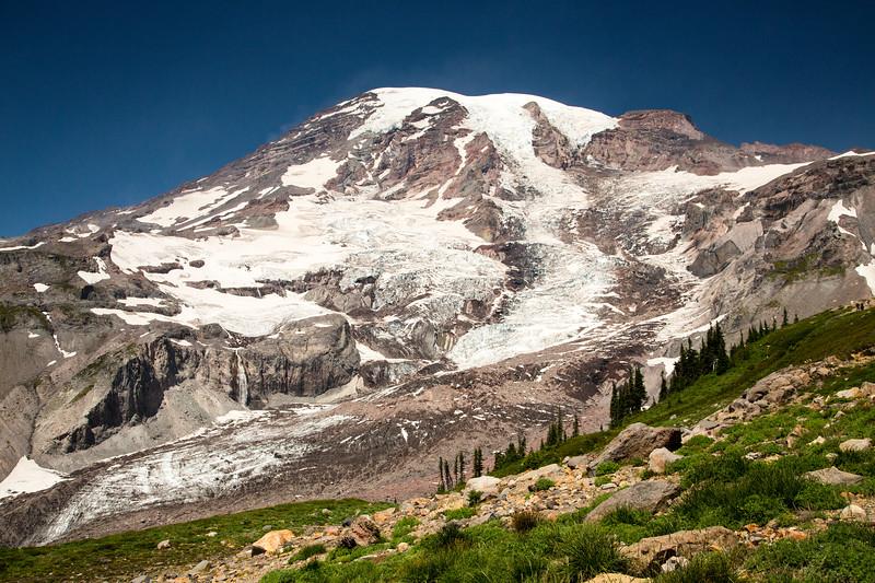 Mt. Rainier as seen from the Skyline Trail near Glacier Vista.  Photo taken in early August 2019.