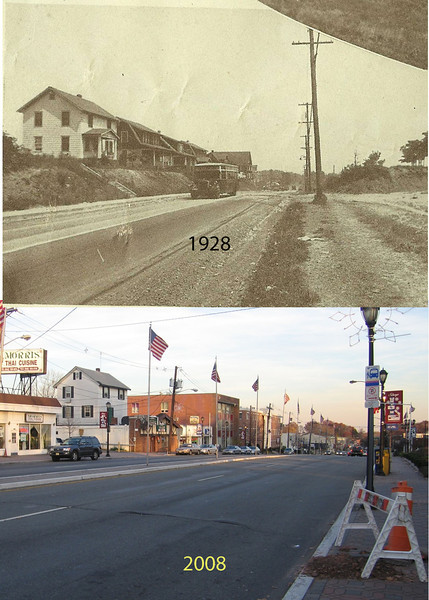 Morris Ave. looking east in Union Center in 1929. Notice the house that recently held Gepetto's and the Sun Tavern.
