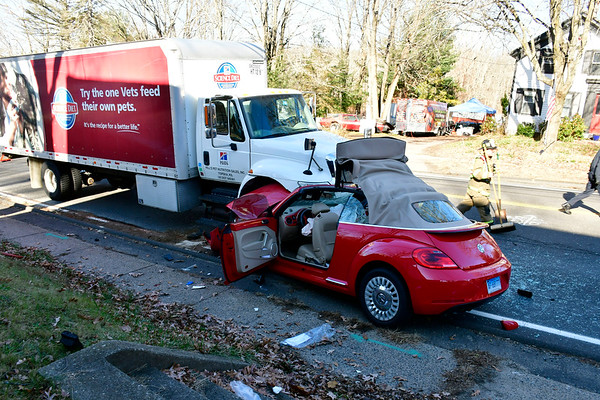 11/21/2019 Mike Orazzi | Staff The scene of a tree vehicle crash on Route 6 on the Plymouth Thomaston line Thursday morning. Two were transported from the scene and the highway was closed for over an hour as crews removed the vehicles.