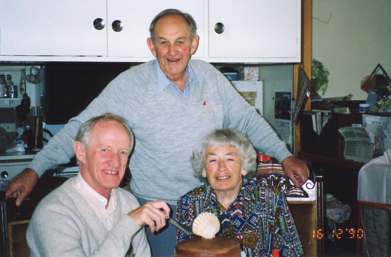 L-R: Colin Holmes, Bob Forsyth, Isabel (Billie) Forsyth, 16th December 1990.