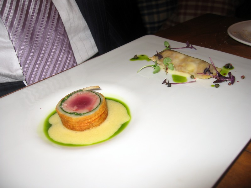 This was one of non-vegetarian courses enjoyed by my friends: Potato Wrapped Tuna Wellington with Caponata-Filled Ravioli and Sauce Béarnaise