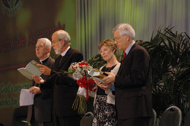 Lowell Almen, Mark Hanson, Barbara Swartling and David Swartling join in celebration following his election as ELCA secretary.