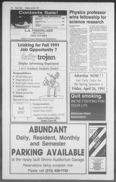 Daily Trojan, Vol. 114, No. 65, April 23, 1991