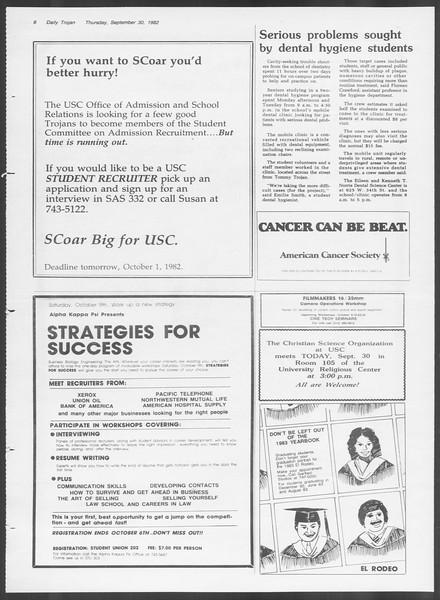 Daily Trojan, Vol. 92, No. 18, September 30, 1982