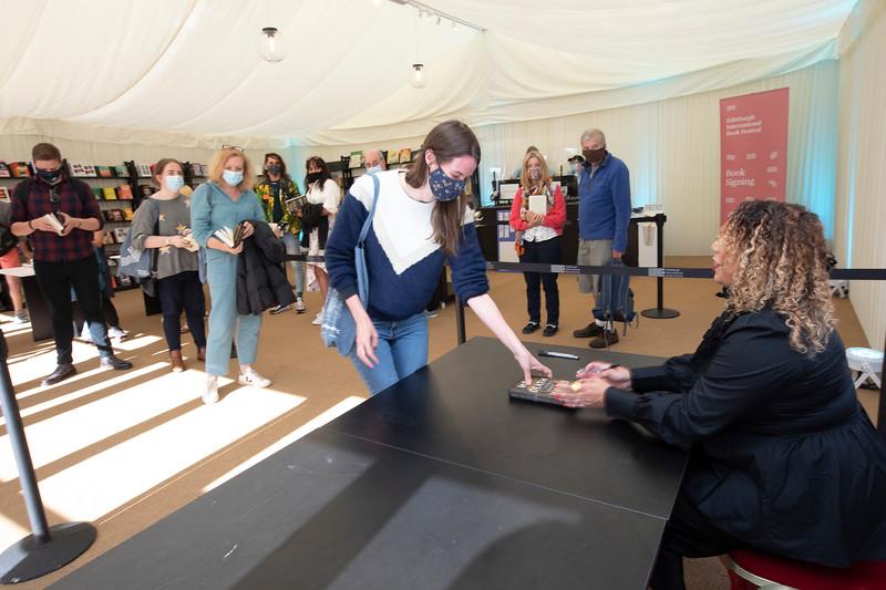 Salena Godden signs her new novel at the 2021 Edinburgh International Book Festival