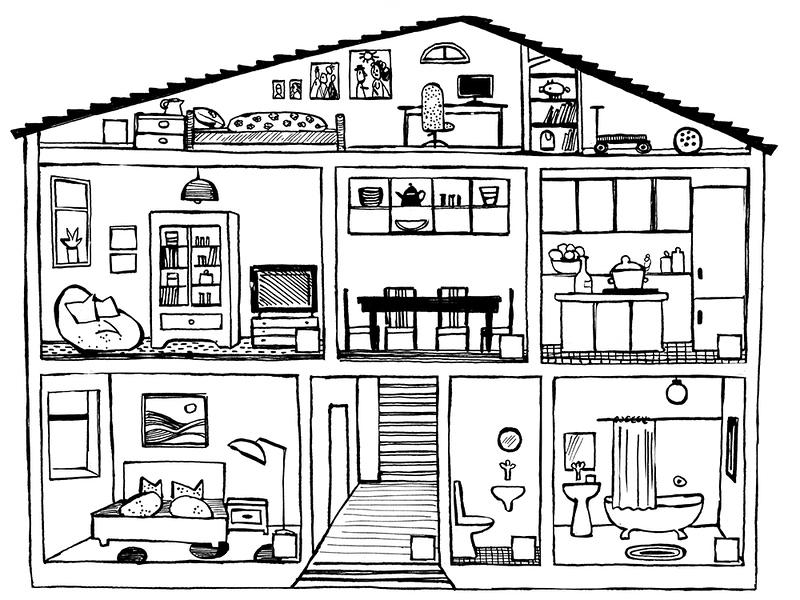 Haus, Querschnitt, Wohnung