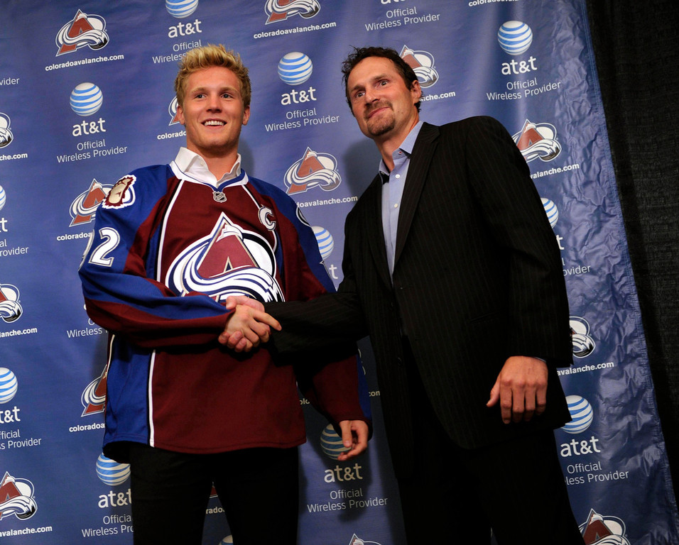 . The Colorado Avalanche named Gabriel Landeskog as its newest captain Tuesday, September 4, 2012. Landeskog became the youngest team captain in NHL history at 19 years old. Landeskog, left, posed for photographers with Milan Hejduk, right, who was the captain for much of last season. Landeskog is only the fourth captain in Avalanche team history. Karl Gehring/The Denver Post