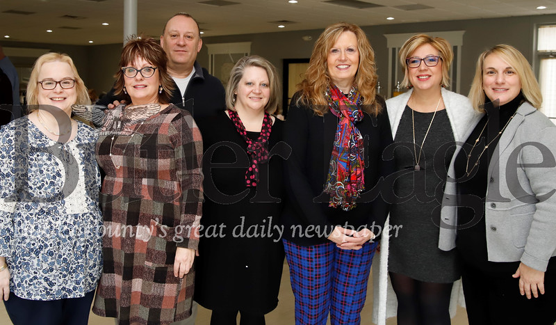 Left to right: Mary Salony, Tri-County WIB; Stephanie Steiger, Daily Sales & Marketing Solutions; John Cyprian, Butler County Veterans Affairs, Linda Thoma and Kim Reamer, Community Health Clinic; Melinda Schultheis, Tri-County WIB; State Rep. Marci Mustello.