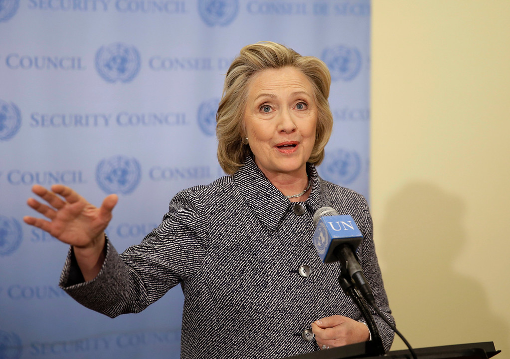 ". Hillary Rodham Clinton speaks to the reporters at United Nations headquarters, Tuesday, March 10, 2015.  Clinton conceded Tuesday that she should have used a government email to conduct business as secretary of state, saying her decision was simply a matter of ""convenience.\"" (AP Photo/Seth Wenig)"