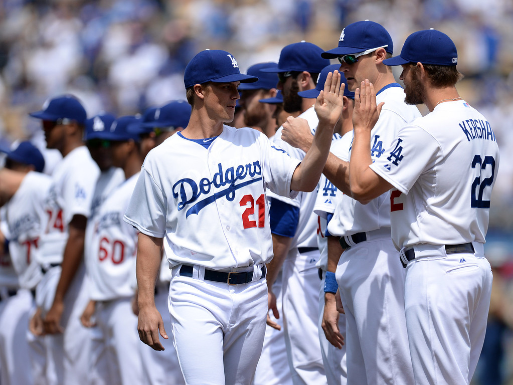 . Dodger pitchers Zack Greinke #21 and Clayton Kershaw #22 during their home opener at Dodger Stadium Friday 4, 2014. The Giants beat the Dodgers 8-4.  (Photo by Hans Gutknecht/Los Angeles Daily News)
