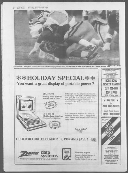 Daily Trojan, Vol. 105, No. 67, December 10, 1987