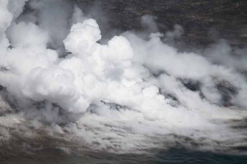 Fresh lava hitting the ocean