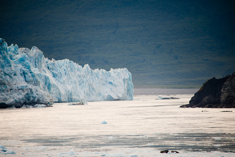 Looking further down the face of the glacier. This inlet is sometimes blocked when the glacier surges and fills the gap.