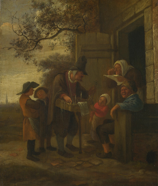 A Pedlar selling Spectacles outside a Cottage