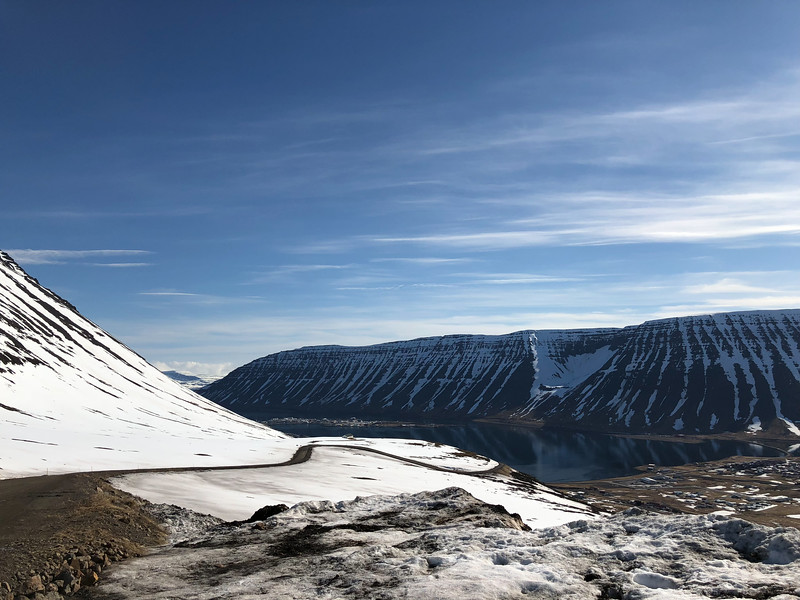 Looking down on Isafjordur from the ski resort.