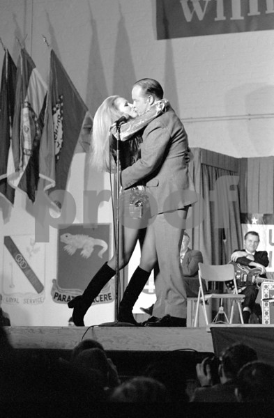 Bob Hope and Ursula Andress performing for the United States military forces on their Dec. 18, 1970 USO tour in Fleigerhorst, Germany.