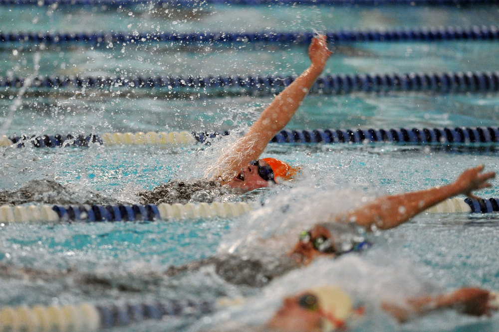 . FORT COLLINS, CO. - FEBRUARY 09: Andie Turner of Lewis-Palmer High School competes during the 100 Yard Backstroke final of the 5A State Championship February 9, 2013 at Edora Pool Ice Center in Fort Collins, Colorado. (Photo By Hyoung Chang/The Denver Post)