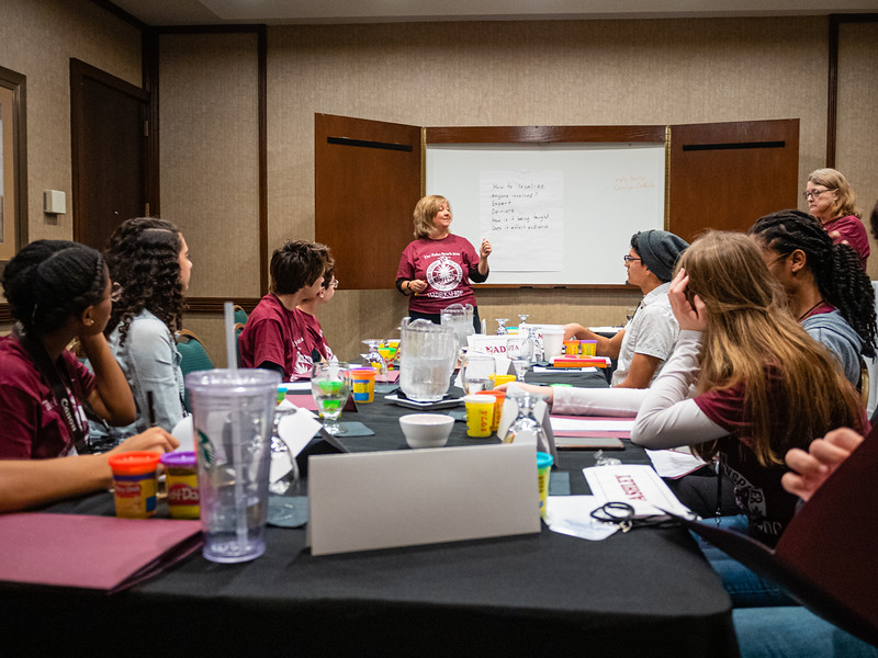 Carolyn DiPaolo, Palm Beach Post Senior Editor, talks to students during the High School Journalism Workshop, hosted by the Palm Beach Post at the Airport Hilton in West Palm Beach on Thursday, December 5, 2019. [JOSEPH FORZANO/palmbeachpost.com]
